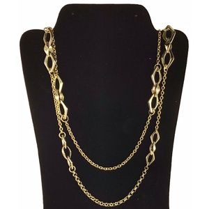 Chicos Long Gold Statement Double Stand Necklace